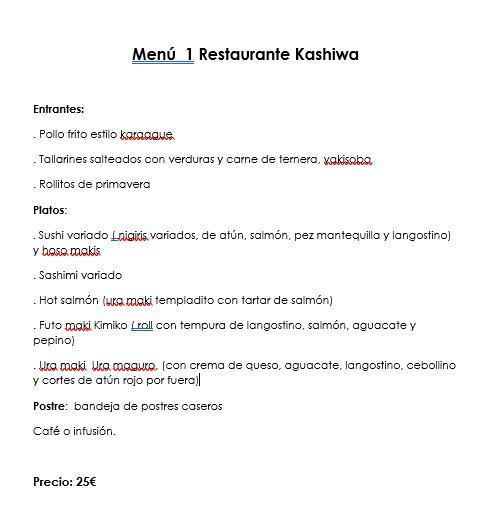 navidad kashiwa menu 1